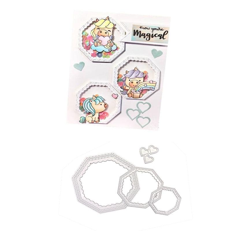 Julyarts 4Pcs DIY Hexagon Spiral Metal Cutting Dies In Creation Large Heart Scrapbooking Stitched