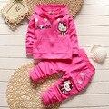Roupas де bebe Пружины Повседневная Новорожденных Девочек Устанавливает Хлопок Hello Kitty С Капюшоном На Молнии Пальто + Брюки дети Одежда Наборы костюмы
