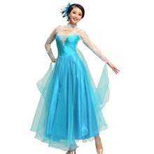 women ladies rhinestone light blue lace long sleeve ruffles dance dress ballroom tango dress/stage dance wear