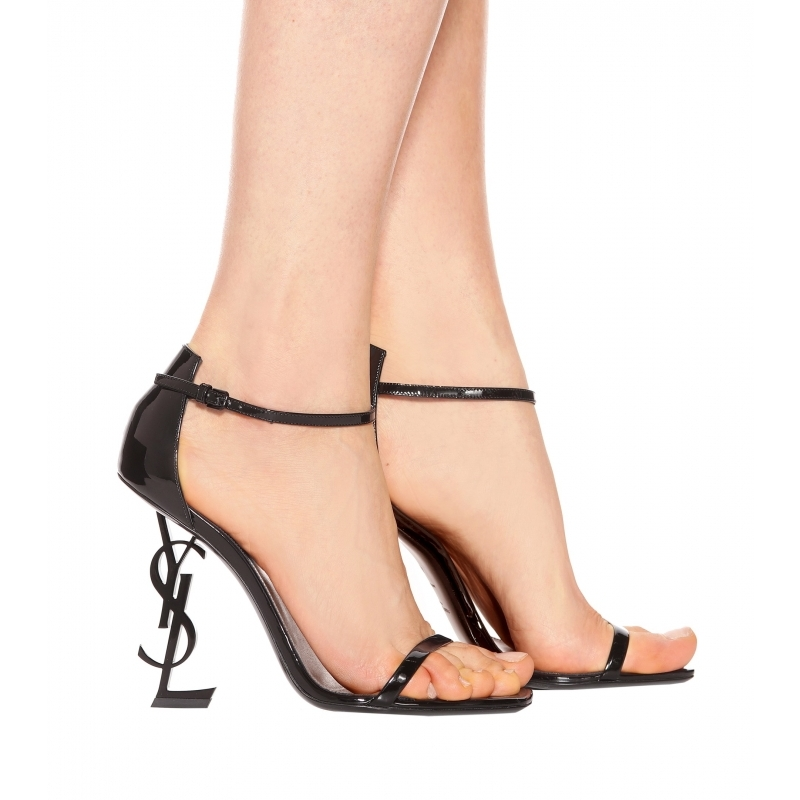 b248520535ef96 Brand runway party wedding shoes letter metal heel sandals women patent  leather high heels shoes sexy