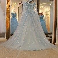 Vestido De Festa Romantic 3D Floral Princess Prom Dresses Light Sky Blue Applique Pearls Stunning Beauty