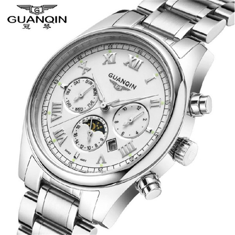 Watch Men GUANQIN Brand Luxury Fashion Casual Quartz-Watch Stainless Steel Watch Band Waterproof Male Relogio Masculino 2016 2016 hot sale fashion brand men watch stainless steel band quartz wrist watch casual business watch relogio masculino clock