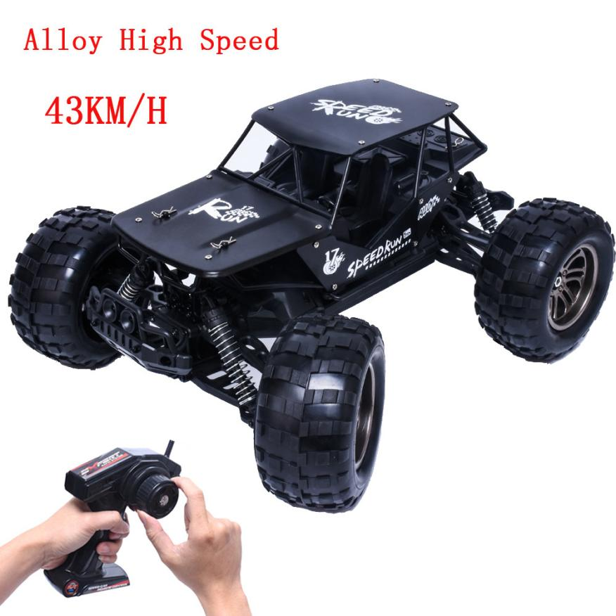 1:12 2.4G 2WD Alloy High Speed RC Monster Truck Remote Control Off Road Car RTR Toy 2 Wheel Shaft Drive 32 x 26 x 16cm Dirt Bike huanqi 739 high speed rc cars 1 10 scale 2 4g 2wd 42km h rechargeable remote control short truck off road car rtr vehicle toy