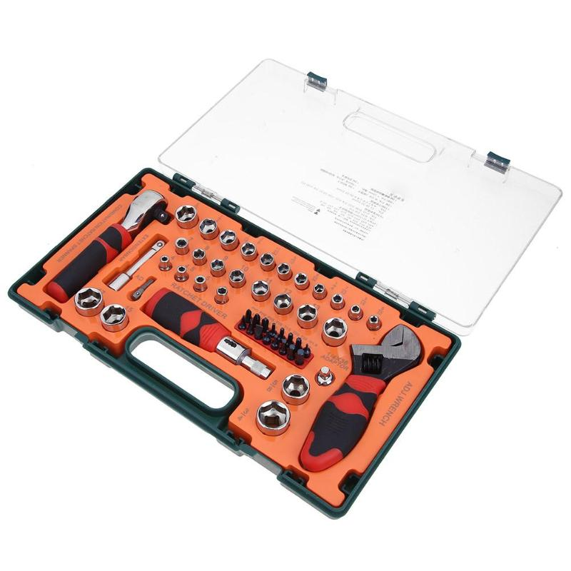 49pcs/Box Ratchet Screwdriver Wrench Combination Bushing Sleeve Kit Set Appliance Mechanical Repair Tool, Household Car repair