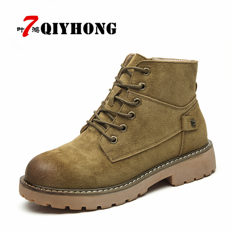 New 2018 Fashion Autumn Winter Platform Ankle Women Lace Up Martin Boots Ladies Worker Boots Motorcycle Boots Genuine Leather 2017 new autumn winter shoes for women ankle boots genuine leather boots women martin boots lace up platform combat boots botas