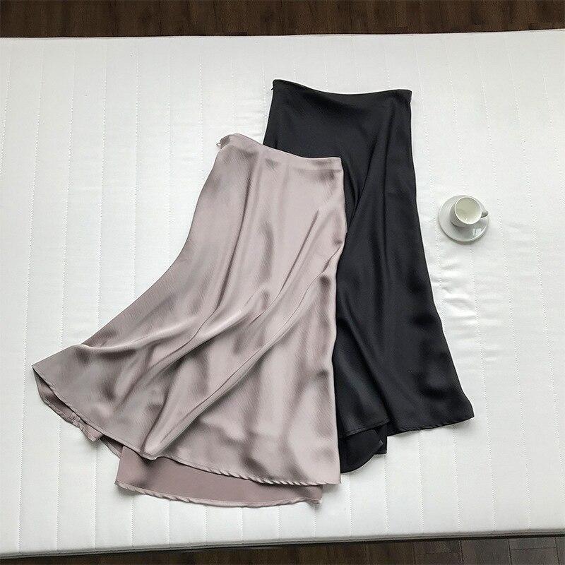 19 Spring Simmer Women High Waist Satin Skirt Metallic Color Long Skirt Shiny Silk Imitation Midi Skirt 13
