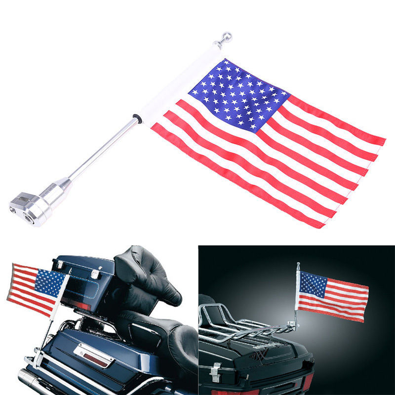 Motorcycle Rear Side Mount Flag Pole Vertical USA Flag Luggage Rack For Honda GoldWing GL1800 GL1500 2001 - 2011 motorcycle flag pole luggage rack vertical american for honda goldwing gl1800 2001 2011