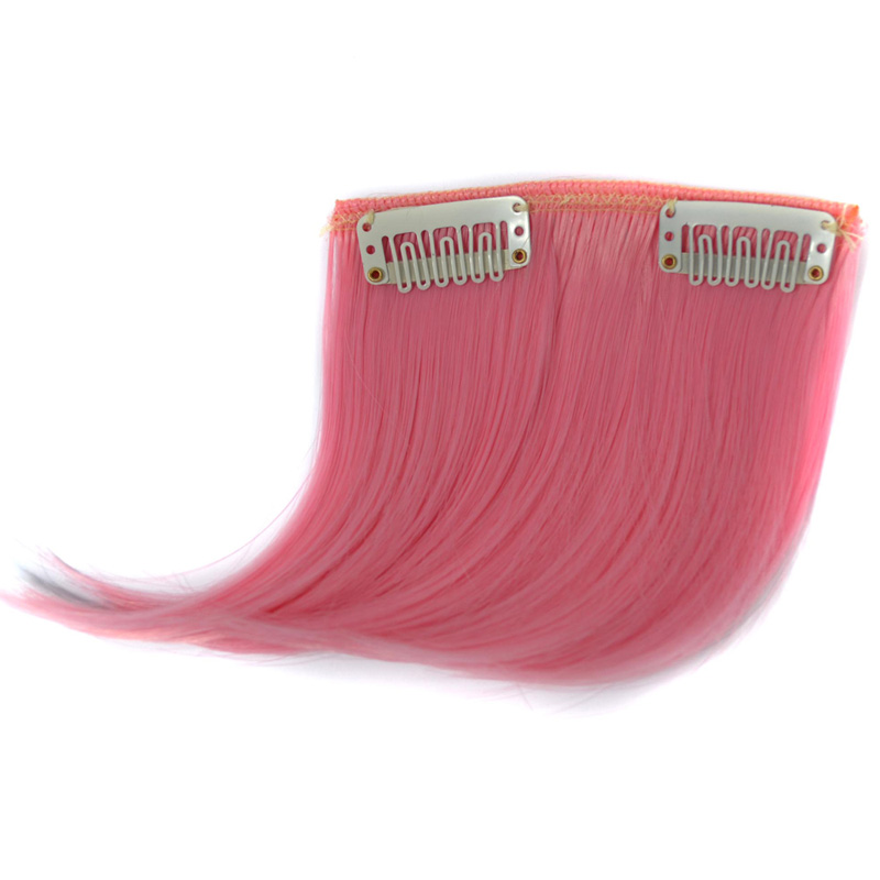 jeedou Pure Color Natural Invisible Hair Bangs Hair Extensions Synthetic Blue Gray Pink Red Colorful Colors Bang