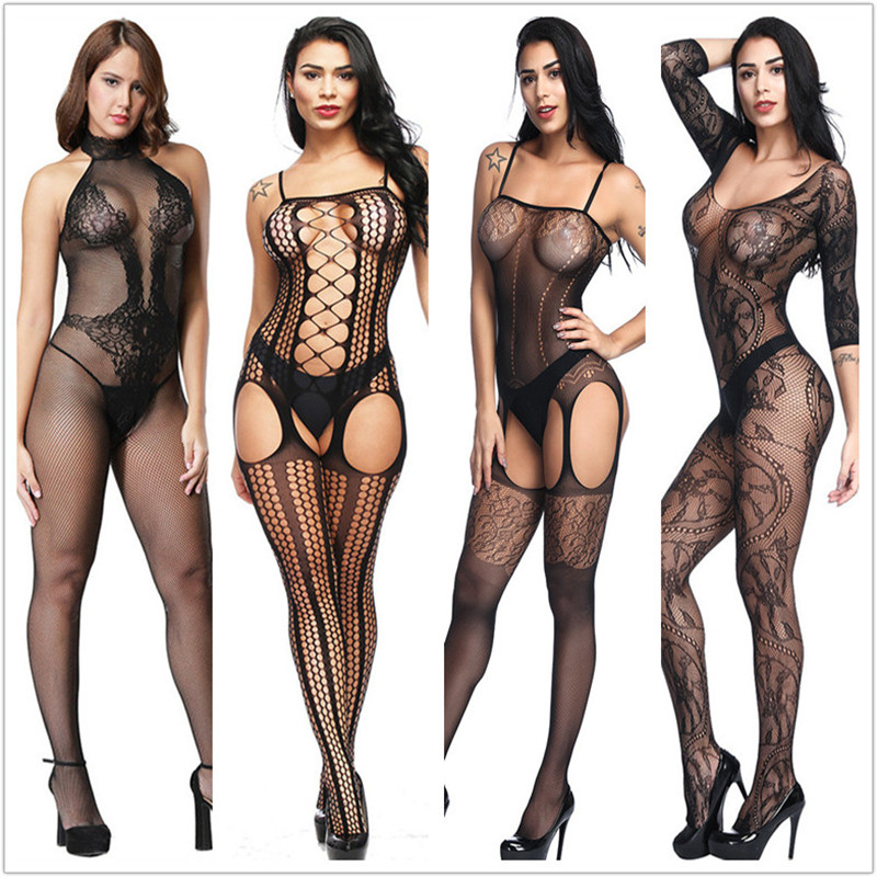 Sexy Lingerie Costumes Stockings Bodysuits Teddies Open-Crotch Erotic Hot Porn Mesh Elasticity