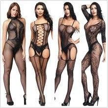 Lencería sexi peluches Bodysuits Lencería erótica caliente entrepierna abierta elasticidad malla cuerpo medias Sexy ropa interior sexi disfraces