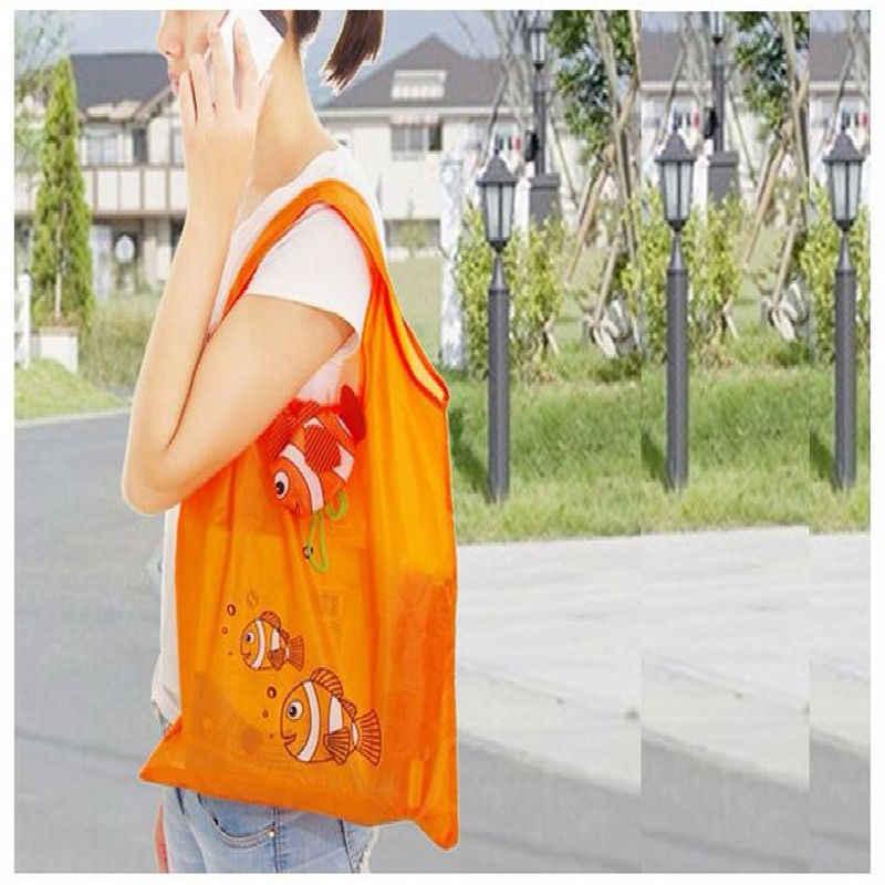 Nylon Sacos de Compras Reutilizáveis Saco Eco Dobrável Peixes Tropicais Sacola Grande Capacidade Rosa Bolsas De Armazenamento Reciclar Bolsa de Supermercado
