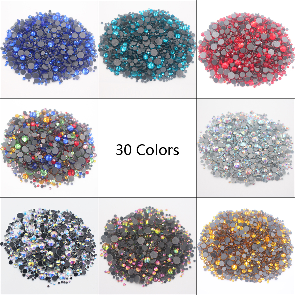 2500pcs/lot Ss6 Ss10 Ss16 Ss20 Ss30 Mix Size Crystals And Stones Hotfix Rhinestones Glue-Back Iron On Rhinestones For Clothes