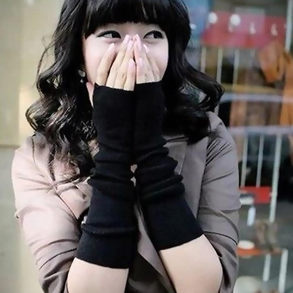 Armstulpen ZuverläSsig 1 Paar Winter Lange Arm Handschuhe Arm Wärmer Hülse Handschuhe Frauen Mädchen Streifen/solide Loch Halbe Handschuhe VerrüCkter Preis