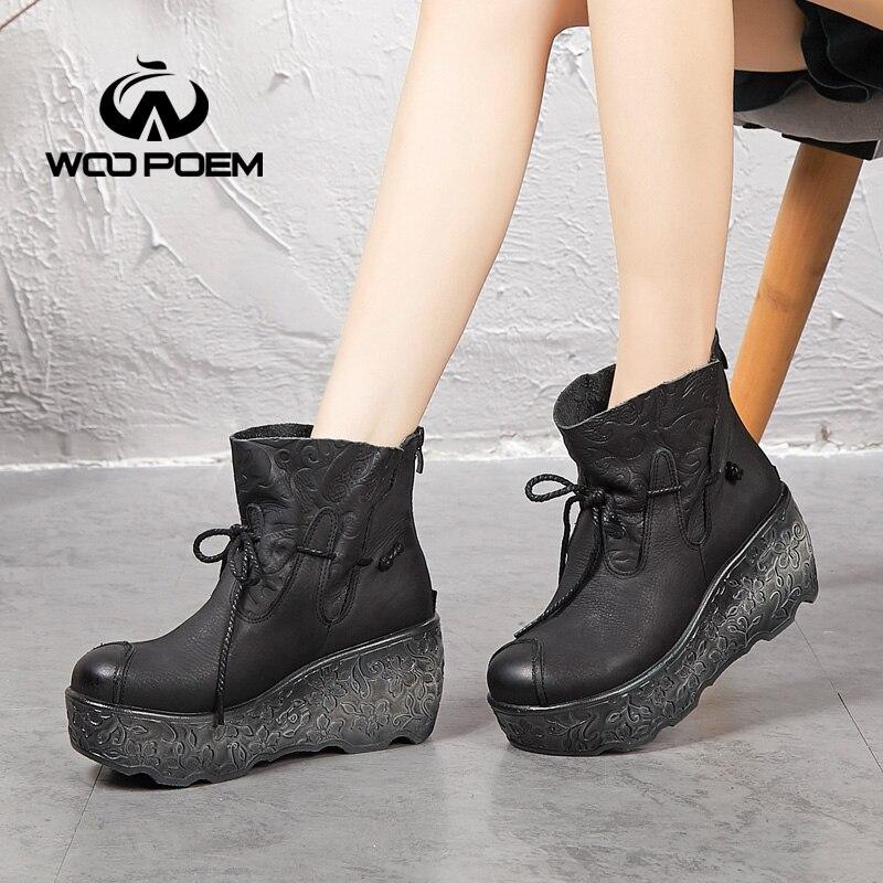 d824150afc5047 Black Wedge Wa755 Hiver Femmes Talon forme khaki Haut Plate Cuir En  Chaussures Femme Bottes 2018 ...