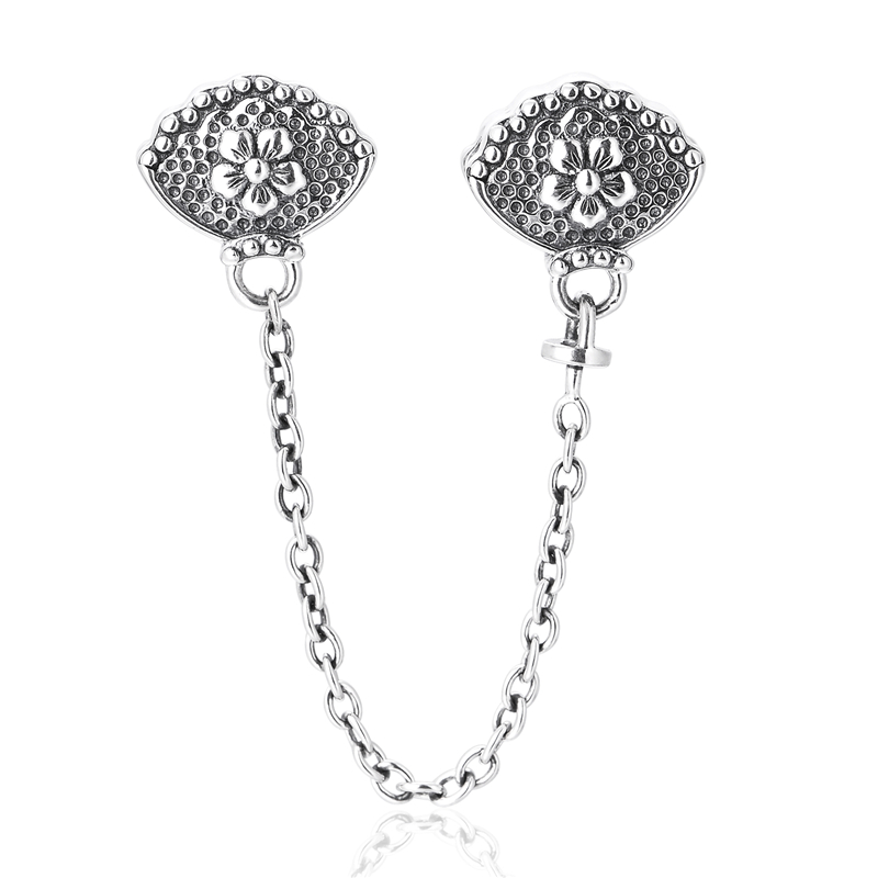 Pandulaso Flower Safety Chain Stopper Beads for Jewelry Making Silver DIY Fit Original Charms Bracelets Snake Chains for Women