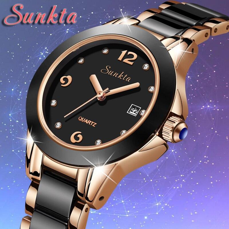 Us 2069 91 Offsunkta Neue Luxus Frauen Uhren Rose Gold Keramik Diamant Damen Weibliche Uhr Geschenk Quarz Armbanduhr Uhr Femininos Mode Box In