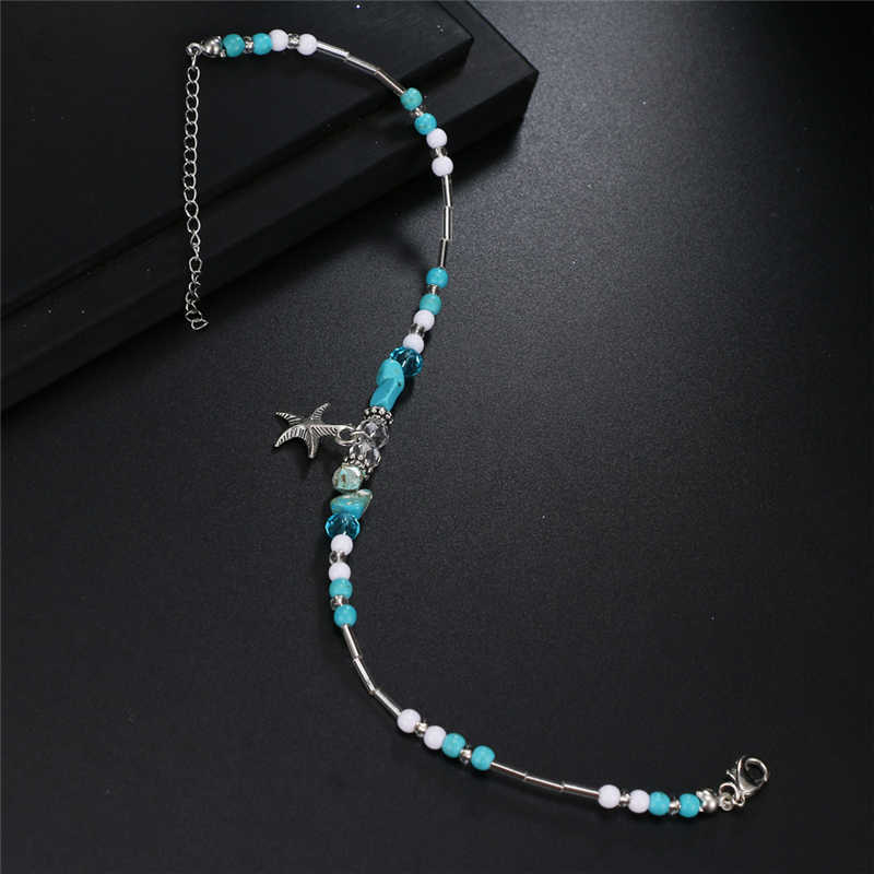 Fashion Sea Turtles Pearl Starfish Wave Heart Charms Bracelets Anklets For Women Bohemian Summer Foot Chain Jewelry Gifts
