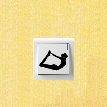 Fashion Yoga Streching Movements Vinyl Wall Stickers Switch Decals 5WS1005 image