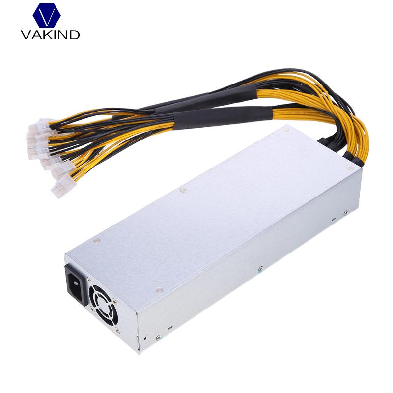 VAKIND 1800W 180 264V 15A Platinum Antminer Mining Power Supply Fits With 10pcs Interfaces For Antminer