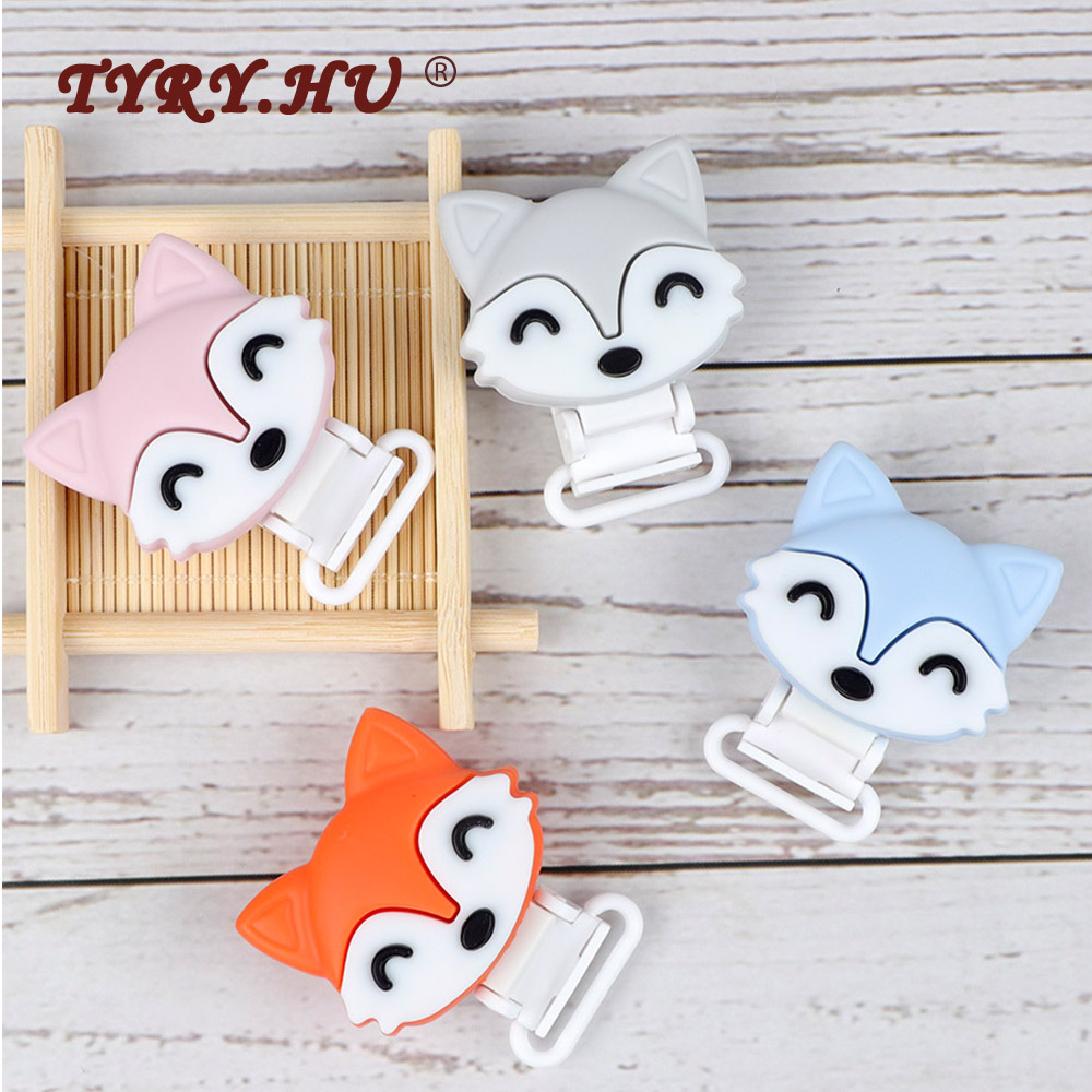 TYRY.HU 1pc Fox Pacifier Chain Clip Wooden Crochet Clip Food Grade Safety Silicone Clip Baby Teether Teething Bead Baby Products