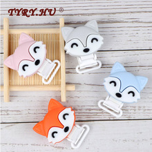 TYRY.HU 1pc fox Pacifier Chain Clip Wooden crochet clip Food Grade Safety Silicone Clip Bab