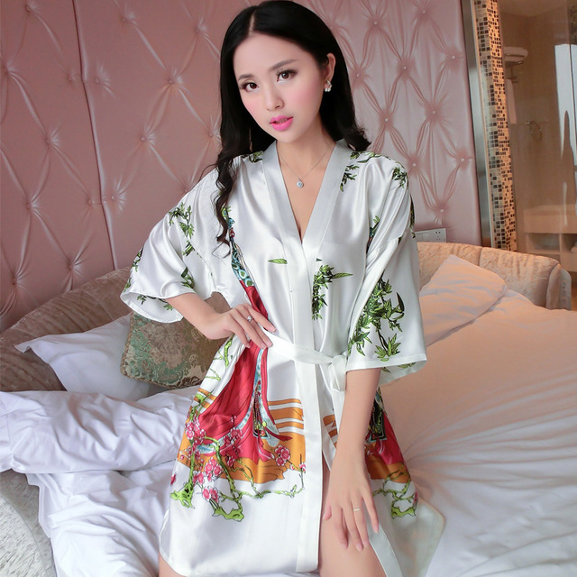 bd4005dea2d New Arrival Chinese Women Summer Silk Sleepwear Sexy Mini Robe Dress  Printed Kaftan Bath Night Gown Flower One Size J05