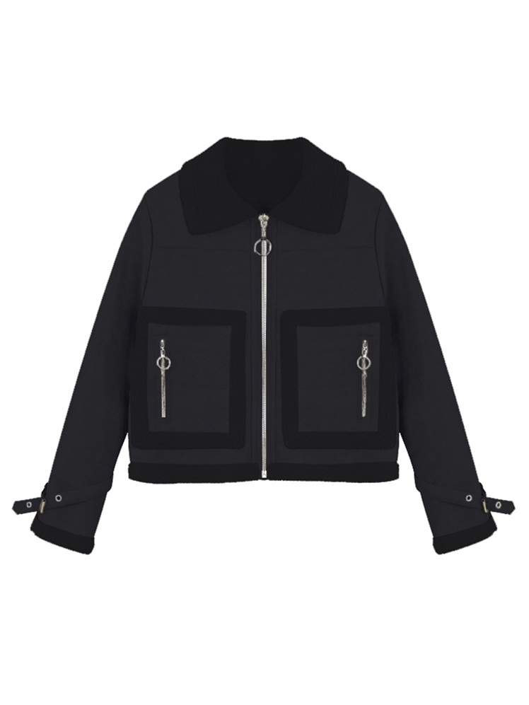 Vêtements Épaississement Et En kaki Pu Manteau D'agneau Beige Velours D'hiver Cheveux Mode Femmes noir Automne Plus Revers Moto Tb181 Cuir De Court O01qfdOF6