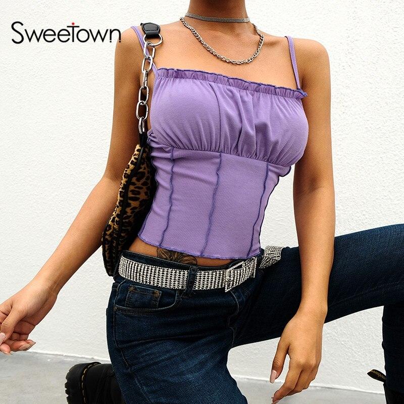 Sweetown Cami-Top Bralette Knitted Streetwear Purple Sleeveless Feminino Sexy Summer