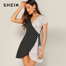 c0c29e81d SHEIN الأسود والأبيض قص و خياطة التفاف عقدة البولكا نقطة البسيطة فستان صيفي  النساء الخامس الرقبة قصيرة الأكمام اللون -كتلة فساتي.