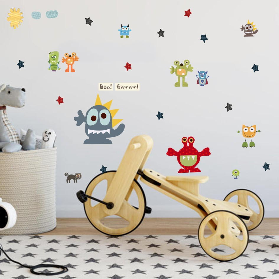 Funny Cartoon Monster Wallpaper Colorful Nursery Decal Waterproof Baby Paster PVC High Quality Wall Sticker Kids Room Home Decor