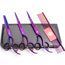 Z3003 4Pcs Set 7 Violet Steel Comb + Cutting Shears Thinning Scissors +UP Curved Professional Pets Hair Suit