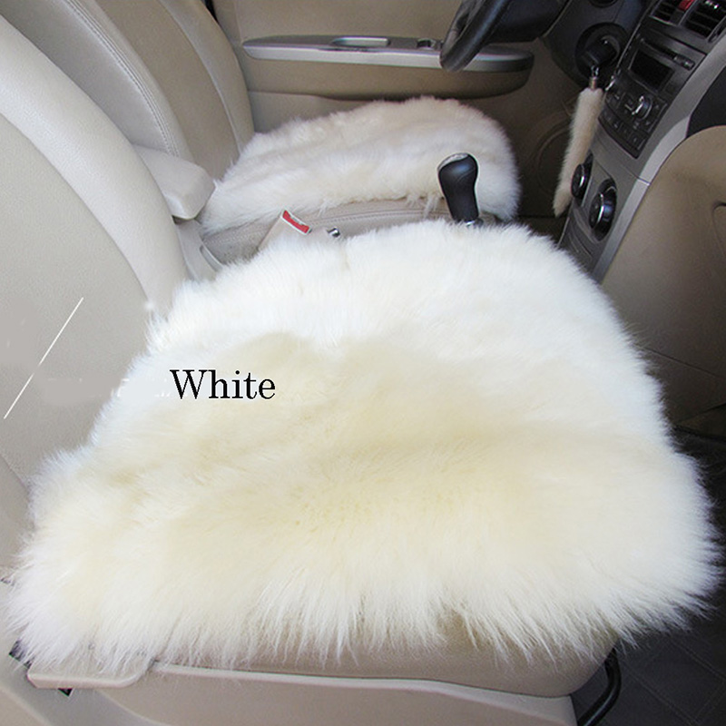 White wool seat cover