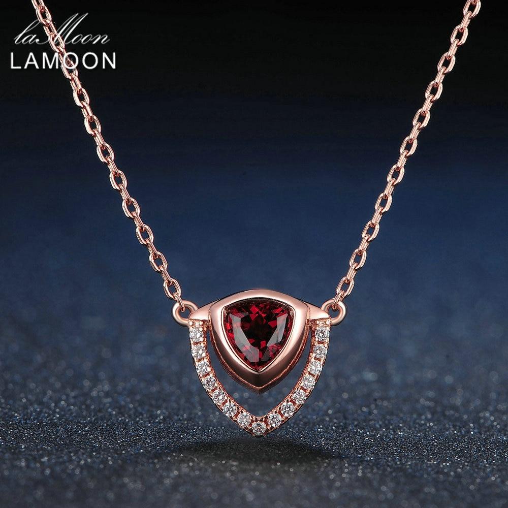 LAMOON 삼각형 5mm 0.5ct 100% 자연 붉은 가닛 925 스털링 실버 주얼리 체인 펜던트 목걸이 S925 LMNI014