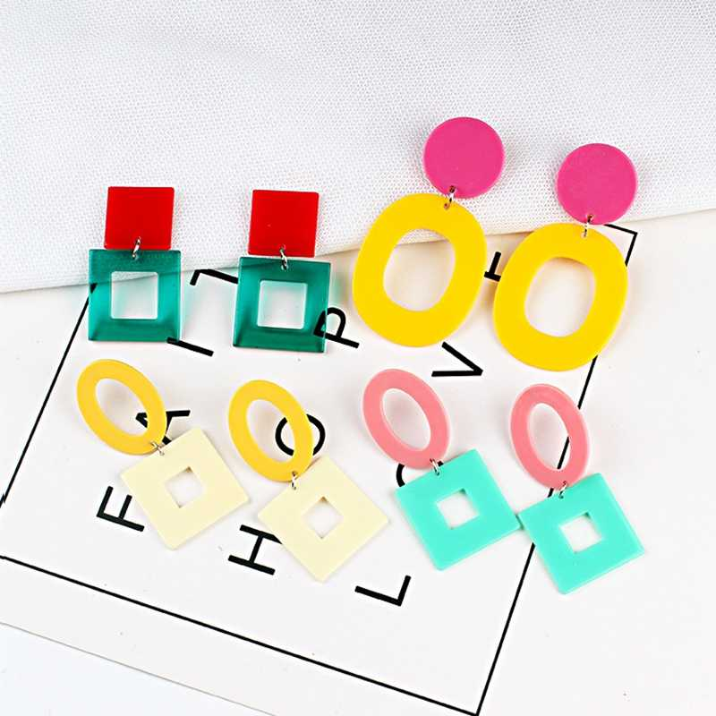 Hollow Geometric Round Square Long Dangle Earrings Pink Yellow White Green Acrylic Big Drop Earrings For Women Jewelry Gift
