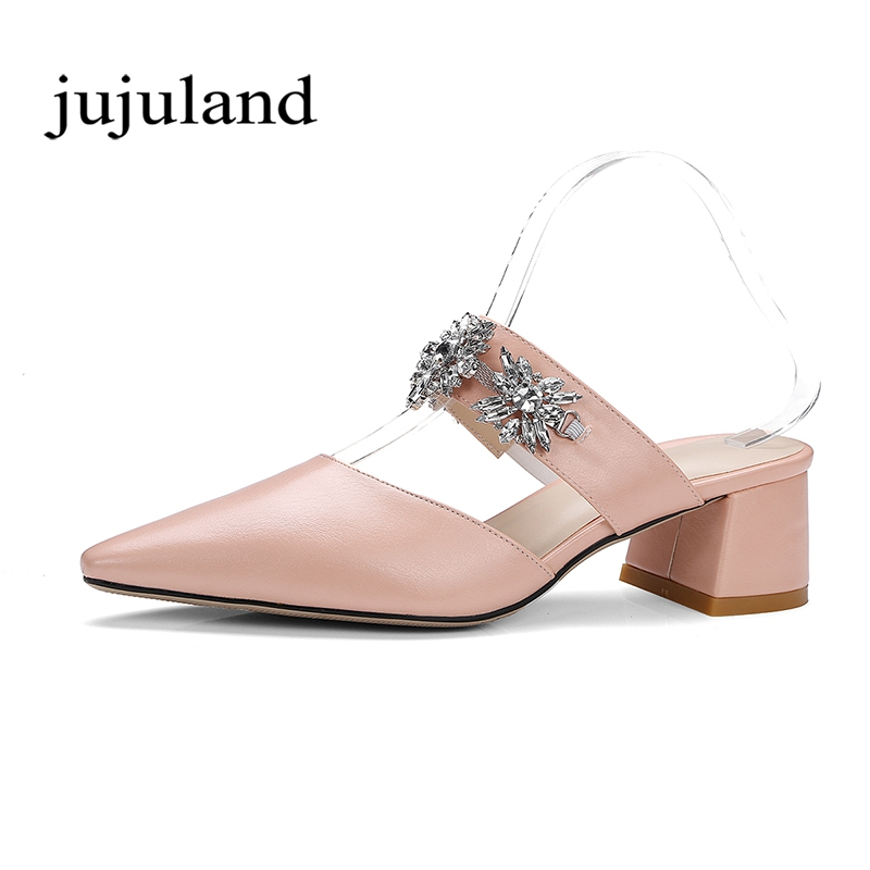 Summer Women Sandals Shoes Fashion Casual Solid Big Size Lady Lazy Shoes Square Med Heels Slip-On Crystal Pointed Toe Slipper 2017 shoes women med heels tassel slip on women pumps solid round toe high quality loafers preppy style lady casual shoes 17