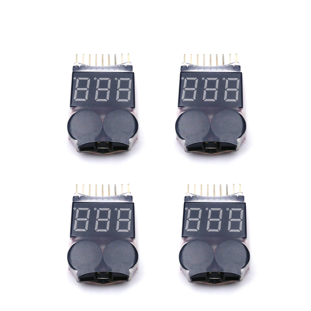 4Pcs 1-8S Indicator RC Model  Li-ion Lipo Li-Fe Battery Tester Low Voltage Buzzer Alarm for RC Car RC Boat RC Drone Tool rc model 2s 3s 4s detect lipo battery low voltage alarm buzzer