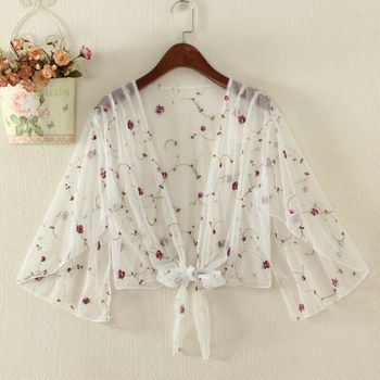 Women Breathable Embroidered Tulle  Cardigan Blouse Summer Thin Coat Loose Lace Long Shirts Tops 1
