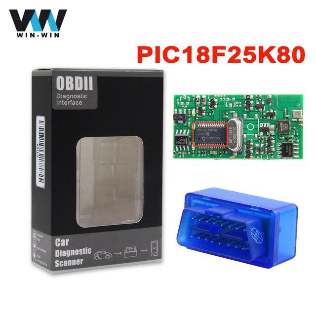 סופר מיני ELM327 V1.5 Bluetooth סורק ELM 327 V1.5 עם PIC18F25K80 OBD2 סורק תמיכה J1850 פרוטוקולי