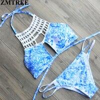 ZMTREE New Arrival High Neck Lace Bikini Set Women Halter High Neck Bikini Sexy Swimwear Beach