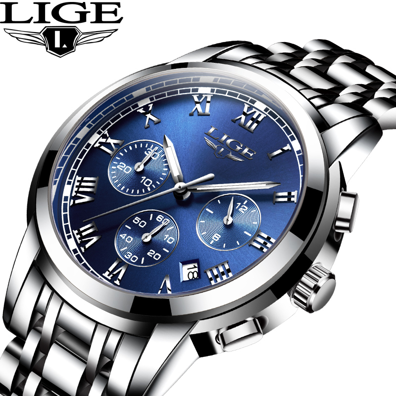 LIGE Brand Men Watch New Fashion Quartz Wrist Watches Men Waterproof Luminous Steel Band Male Clock Relogio Masculino Hodinky 46 weide popular brand new fashion digital led watch men waterproof sport watches man white dial stainless steel relogio masculino