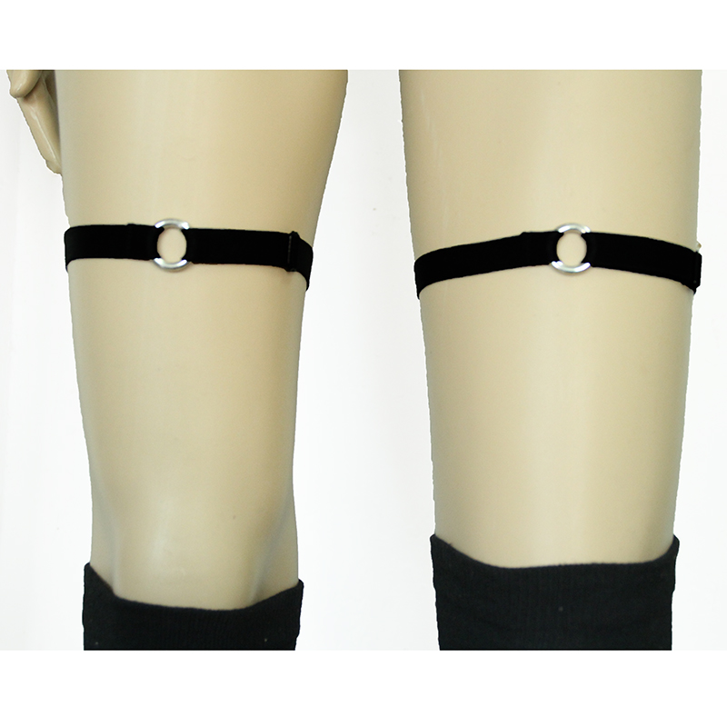 Buy black gothic simple garters PAIR knee cuffs elastic garters BDSM grunge punk fetish bondage garter alternative