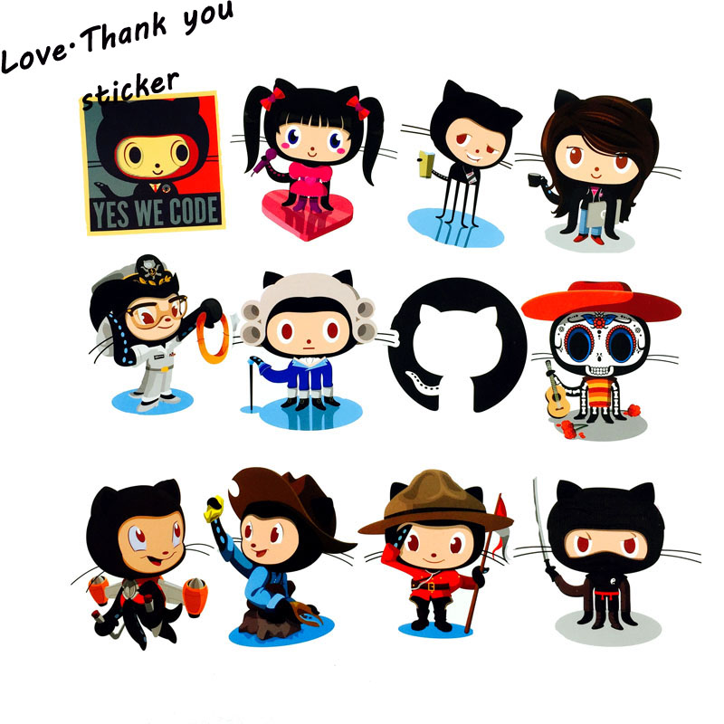 NEW 25pcs lot Github Stickers Waterproof Skateboard Decal Travel Decal For Suitcase Car Laptop Motos Anime