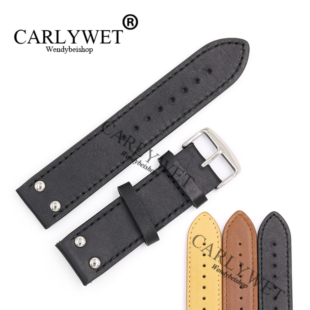 все цены на CARLYWET 22mm Black Brown Yellow Real Leather Handmade Replacement Thick Vintage Wrist Watch Band Strap With Polished Buckle
