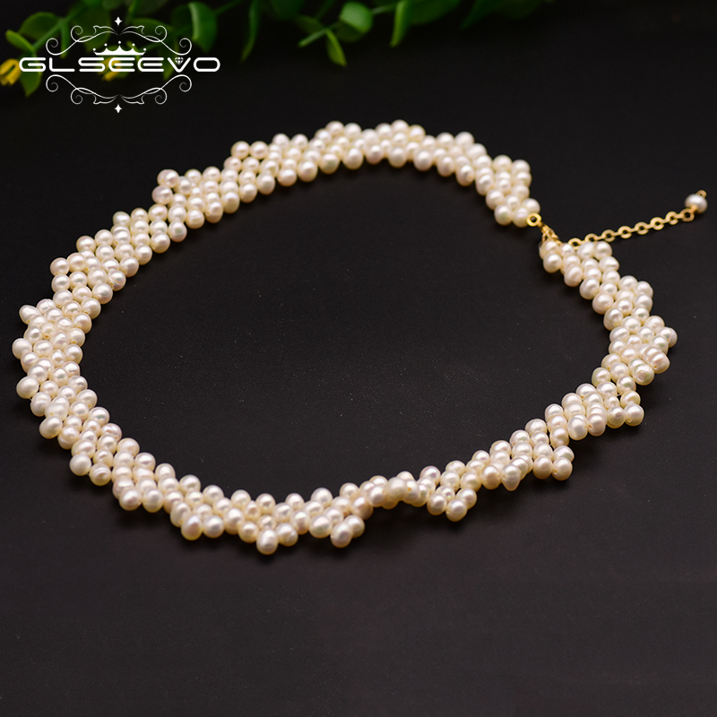 GLSEEVO Handmade Natural Fresh Water Pearl Multi-Layer Choker Necklace For Women Mom Wedding Gift Fine Jewelry Collares GN0090