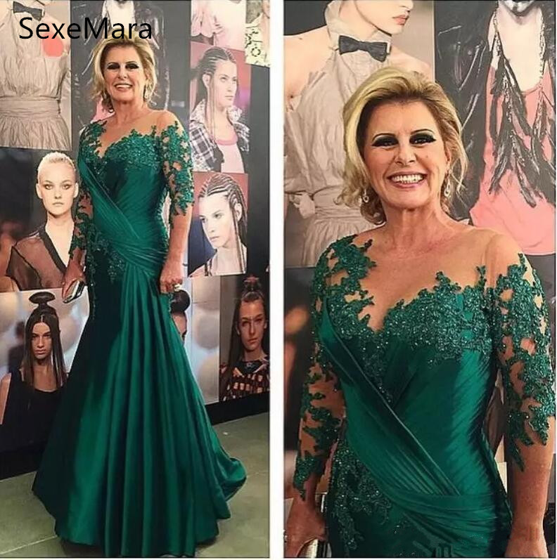 Emerald Green Mother Of The Bride Dresses Long Sleeves Beaded Lace Applique Mermaid Celebrity Party Dress Women Formal Wear