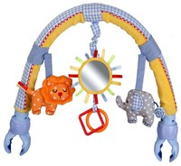 Baby Pram Crib Activity Arch Plush Elephant Toy Stroller And Travel Activity Bar With Rattle And