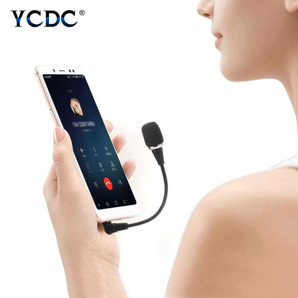 YCDC Flexible 3.5mm Jack Microphone Speaker Mini Condenser Lavalier Mic For PC Laptop Smartphone Skype For Studio Microphone