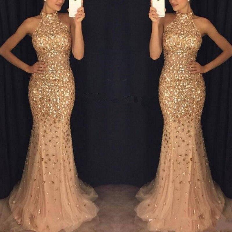 vestido formatura Mermaid   Prom     Dresses   Halter Long Formal   Dress   Beaded gala jurken Custom Made   Prom   Gowns robe de bal