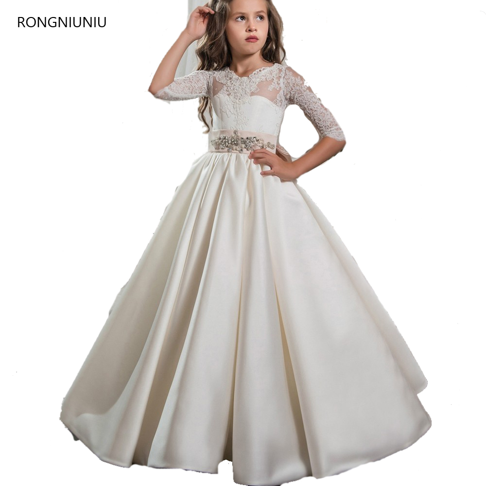 2019 Cute Tulle Half Sleeve   Girls   Pageant   Dresses   Elegant First Communion   Dresses   For Children Graduation   Flower     Girls   Gowns