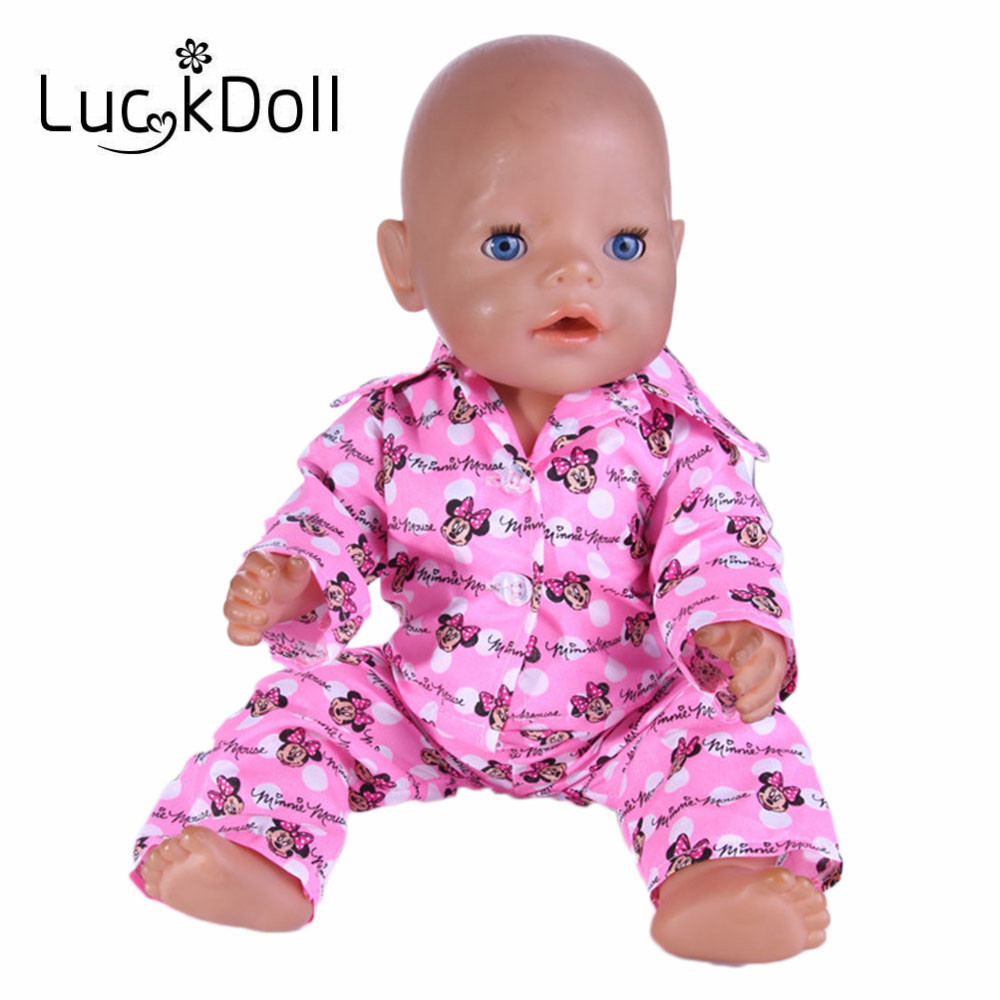 Luckdoll Pink Mickey pajamas Baby born Doll Clothes Wear fit 43cm Baby Born zapf, Children best Birthday Gift n533 2color choose leisure dress doll clothes wear fit 43cm baby born zapf children best birthday gift only sell clothes